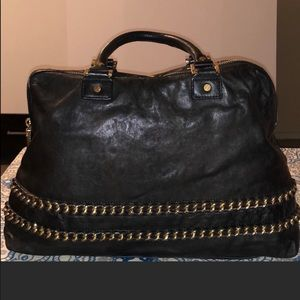 Tory Burch black patent leather lined purse Large